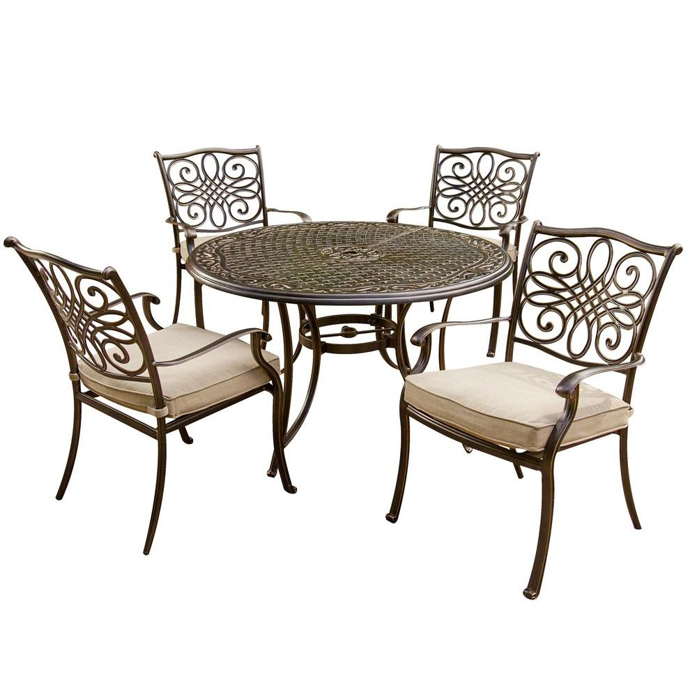 Round Table Patio Furniture Sets Hanover Traditions 5 Piece Patio Outdoor Dining Set With 4 Cast Aluminum Dining Chairs And 48 In Round Table