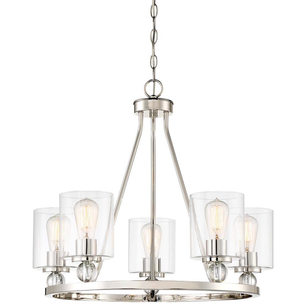 5 Light Brushed Nickel Chandelier With Clear Glass Shades