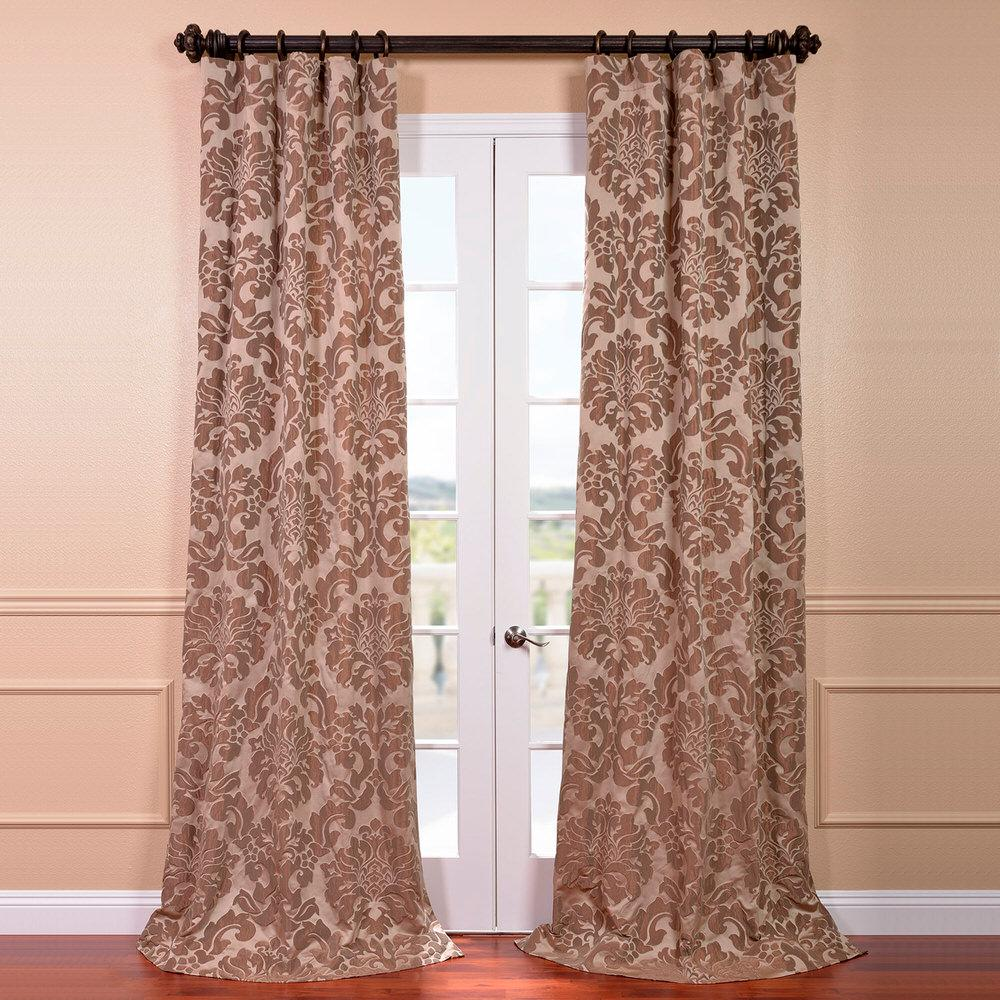 Jacquard Curtains Exclusive Fabrics Furnishings Astoria Taupe And Mushroom Faux Silk Jacquard Curtain Panel 50 In W X 120 In L