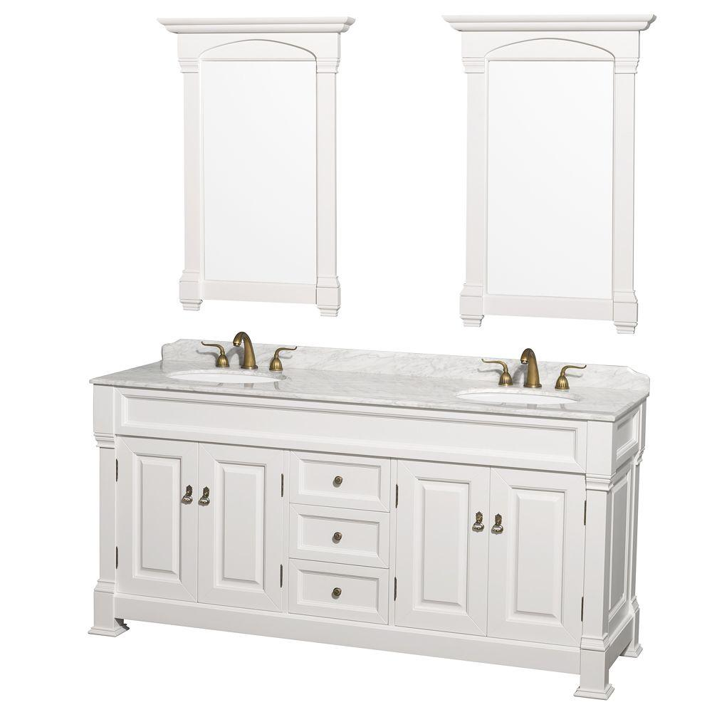 Bathroom Vanity 72 Double Sink Wyndham Collection Andover 72 In Double Vanity In White With Marble Vanity Top In Carrara White With Under Mount Sink