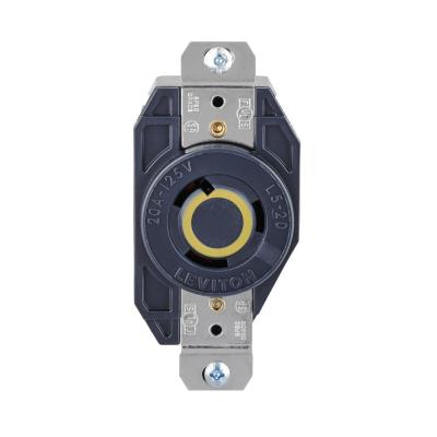 Leviton 30 Amp Surface Mount Power Single Outlet, Black-5054 - The