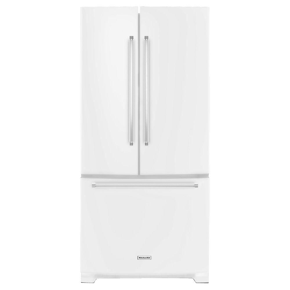 Kitchenaid Krff302ess Kitchenaid 22 1 Cu Ft French Door Refrigerator In White With Interior Dispenser