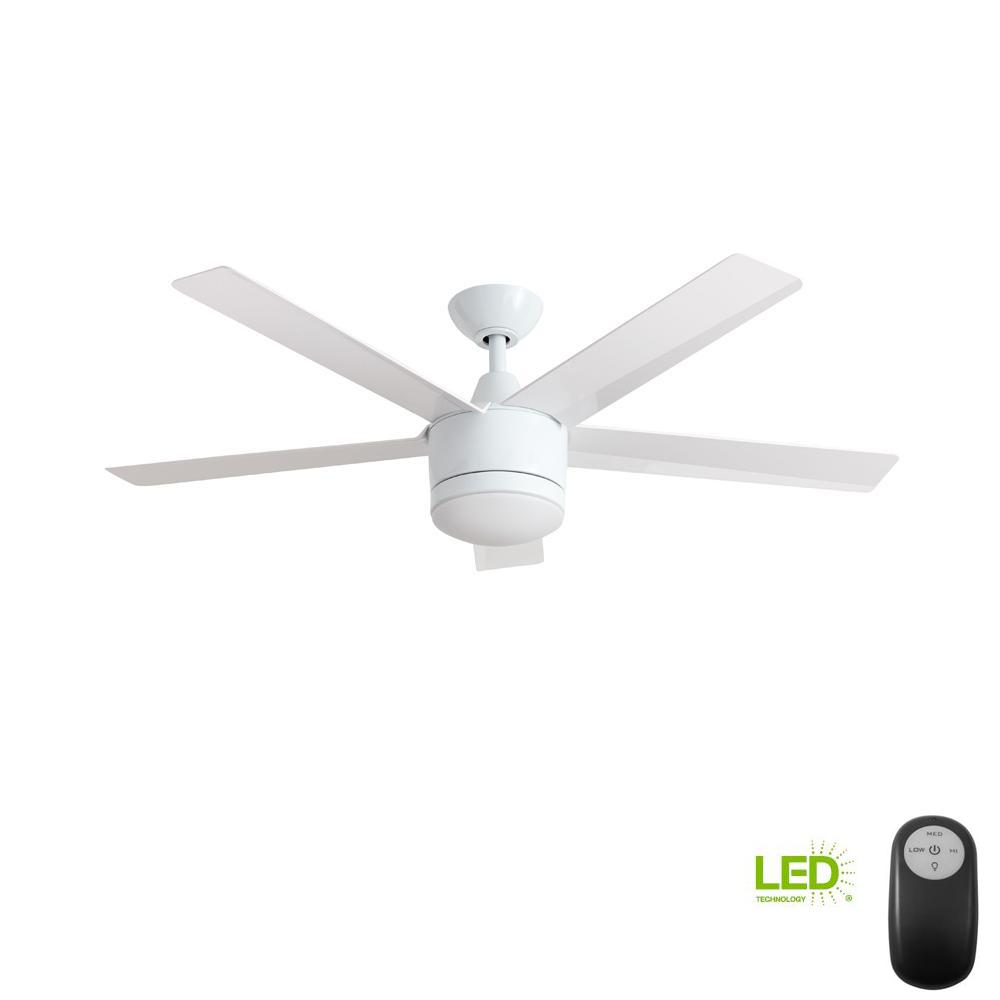??led Home Decorators Collection Merwry 52 In Integrated Led Indoor White Ceiling Fan With Light Kit And Remote Control