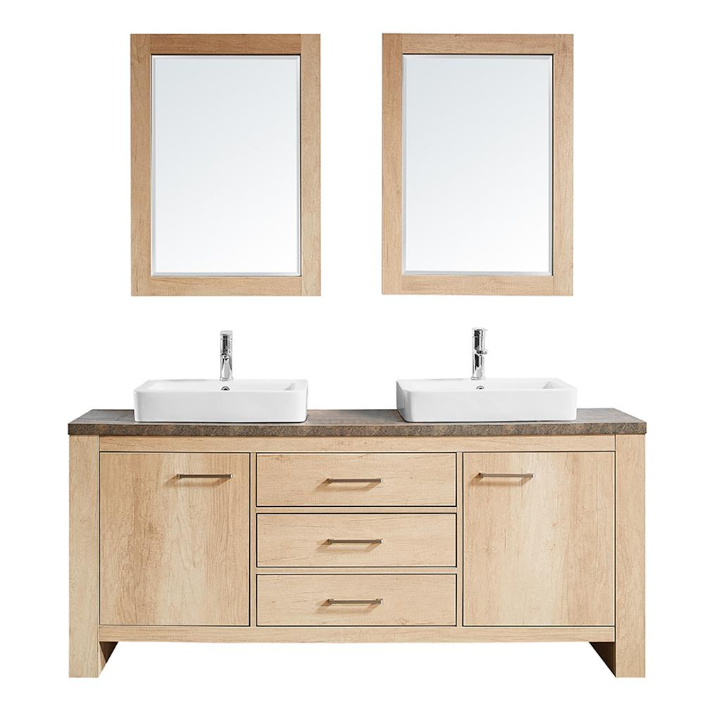 Bathroom With Mirrors Vinnova Alpine 72 In W X 21 In D Bath Vanity In Oak With Melamine Vanity Top In Rustic Marble With White Basins And Mirrors