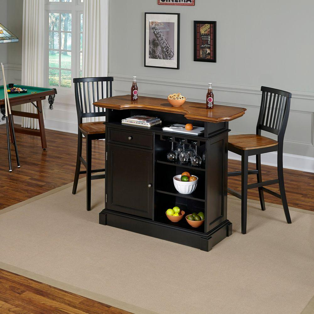Home Bar Furniture Home Styles Americana 3 Piece Black And Oak Bar Table Set