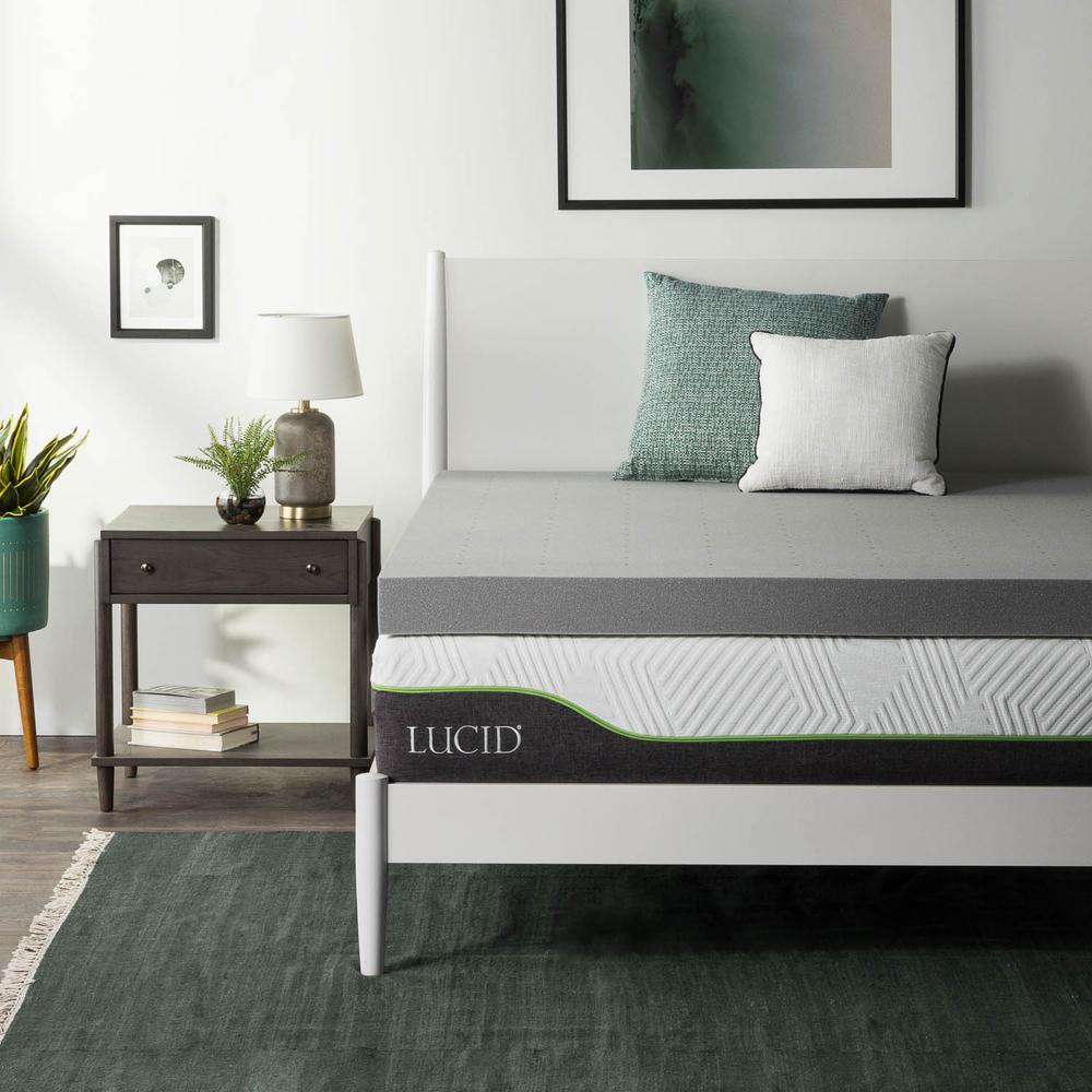 Bamboo Mattress Topper Review Lucid 4 In Queen Bamboo Charcoal Memory Foam Mattress Topper