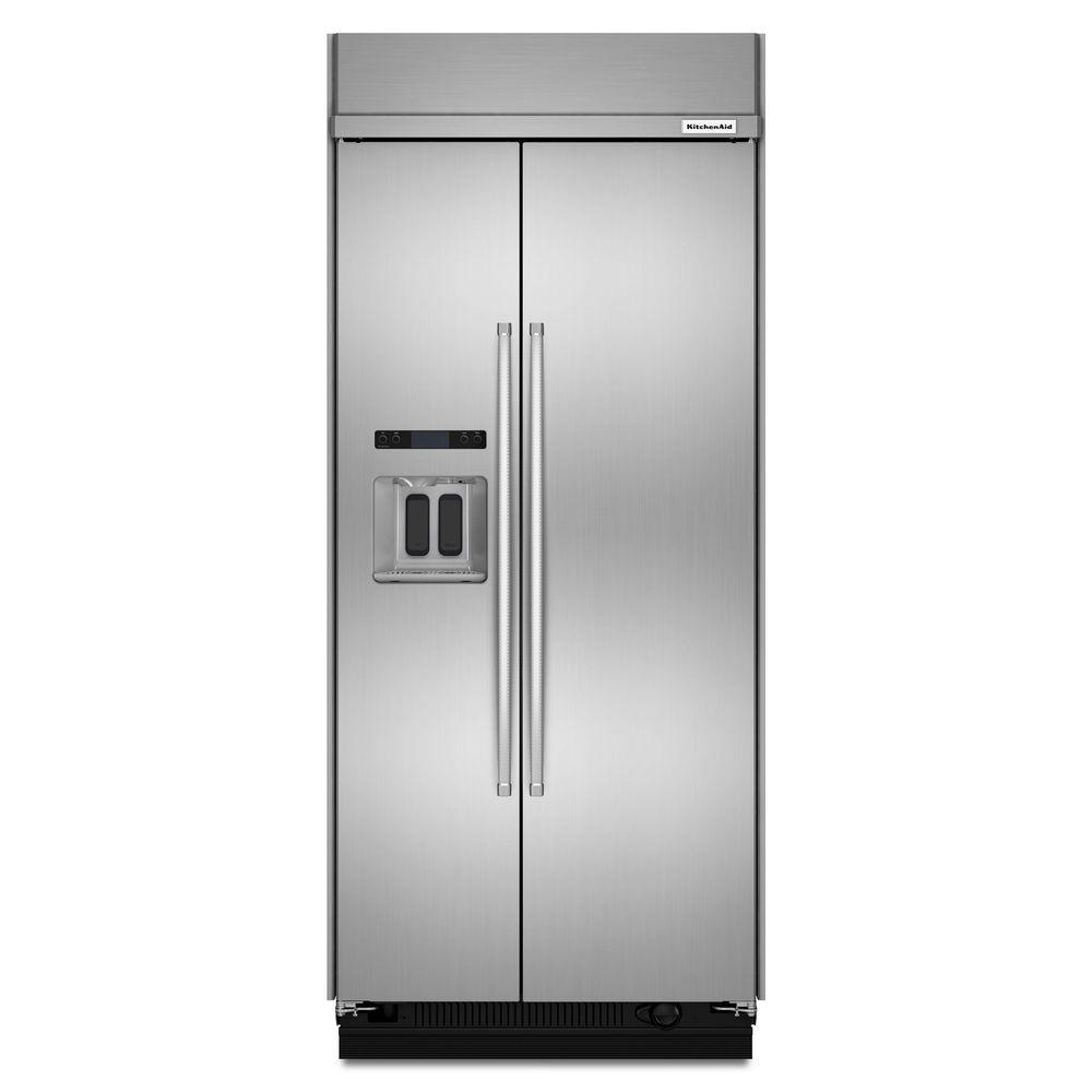 Home Depot Fridges Canada Kitchenaid 20 8 Cu Ft Built In Side By Side Refrigerator In Printshield Stainless Steel With Exterior Ice And Water
