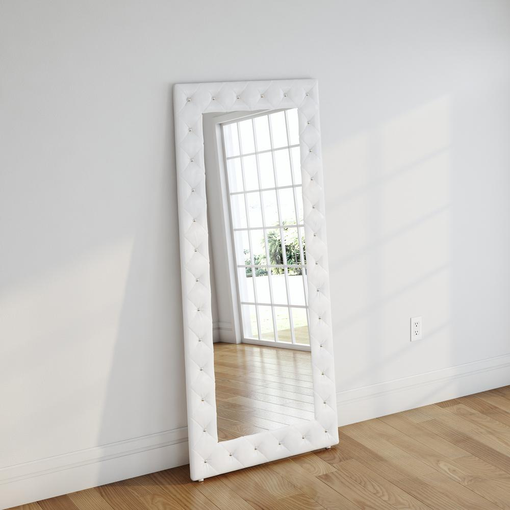 White Floor Mirror Stella 71 In H X 31 In W Crystal Tufted White Faux Leather Upholstered Floor Mirror