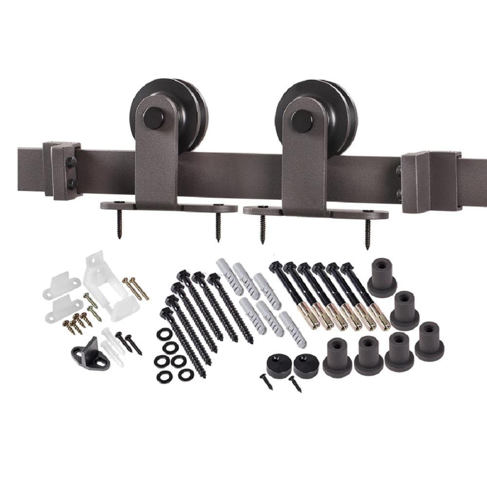 Barn Door Wheels Truporte 8 Ft Premium Bronze Interior Modern Country Rustic Wood Barn Door Closet Hardware Track Kit