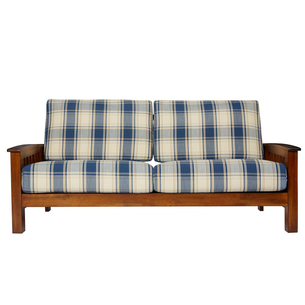 Home Sofa In A Box Handy Living Omaha Mission Style Sofa With Exposed Wood Frame In Blue Plaid