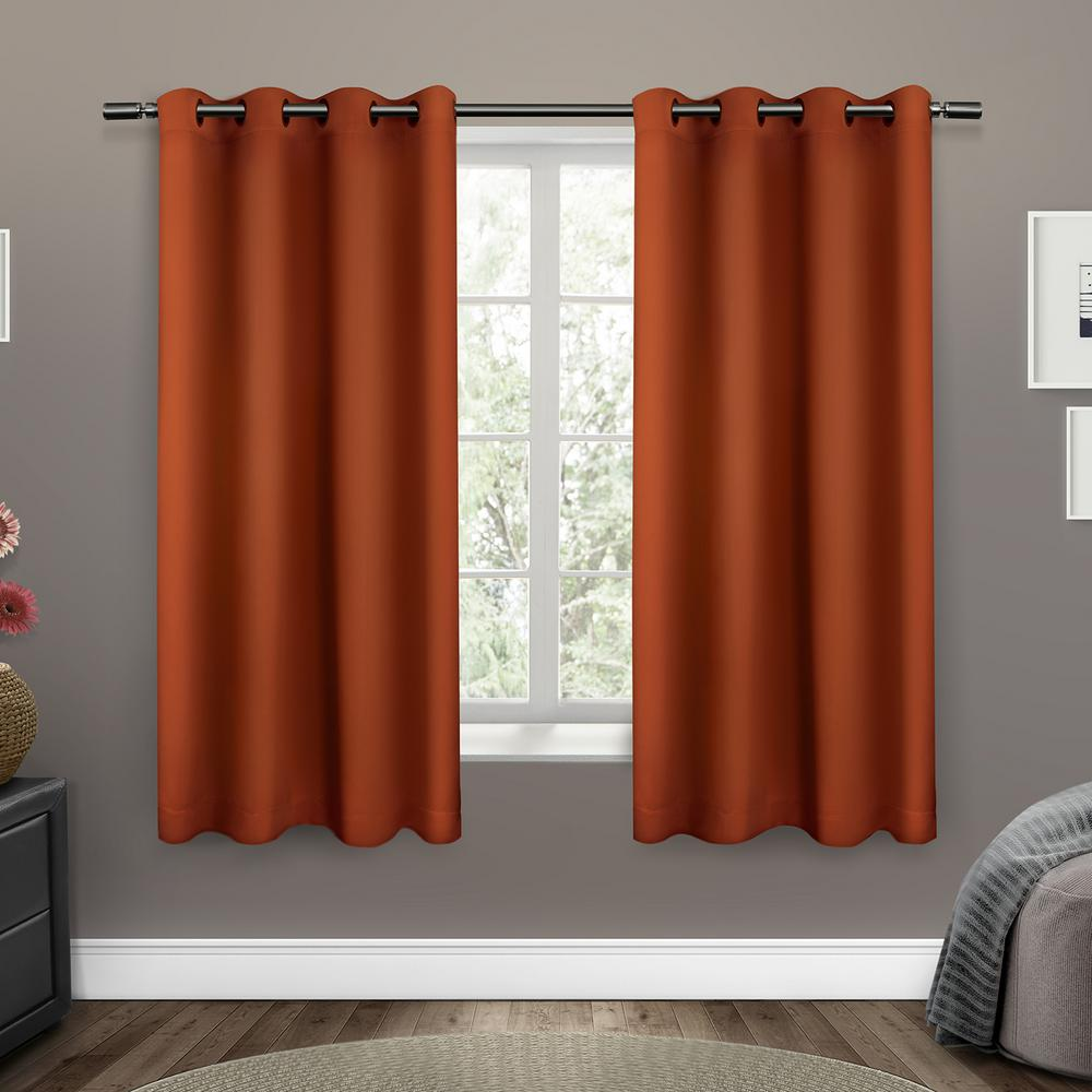 Orange Curtain Panels Sateen 52 In W X 63 In L Woven Blackout Grommet Top Curtain Panel In Mecca Orange 2 Panels
