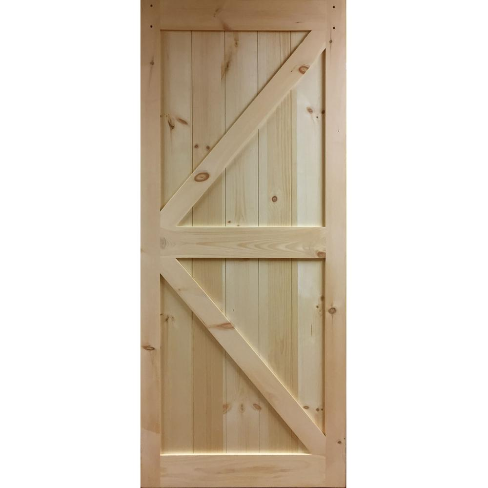 Barn Doors For Homes 36 In X 83 5 In K Bar Solid Core Pine Unfinished Interior Barn Door Slab