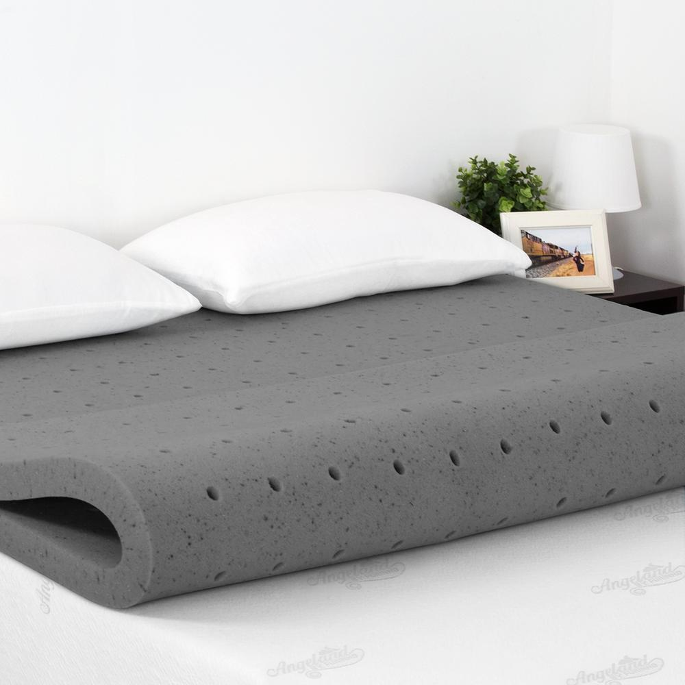 Bamboo Mattress Topper Review Angeland 2 In Queen Size Bamboo Charcoal Memory Foam Topper