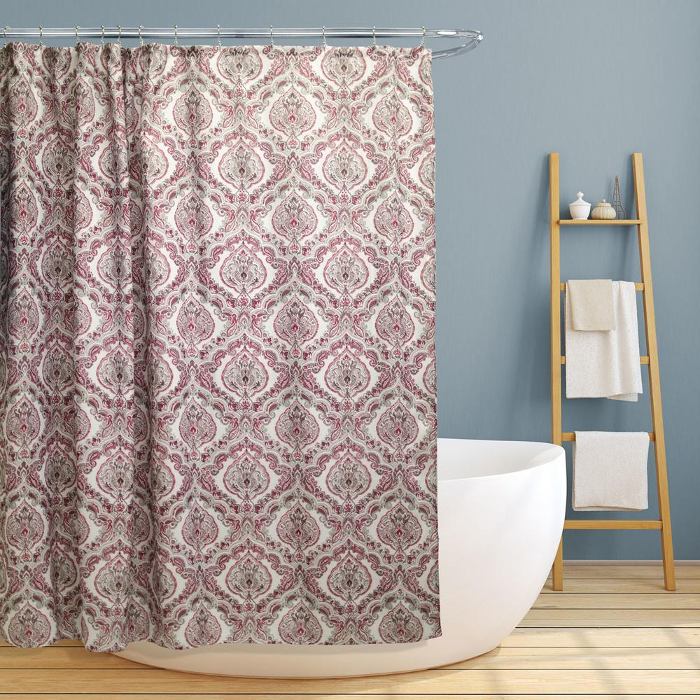 Red And Brown Shower Curtain Rose 70 In Burgundy Paisley Damask Canvas Shower Curtain