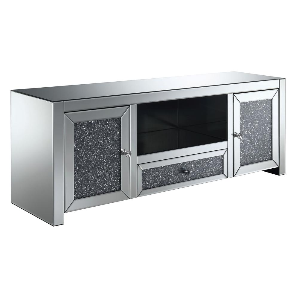 Tv Sideboard Modern Furniture Of America Oliver Silver Glass Tv Stand