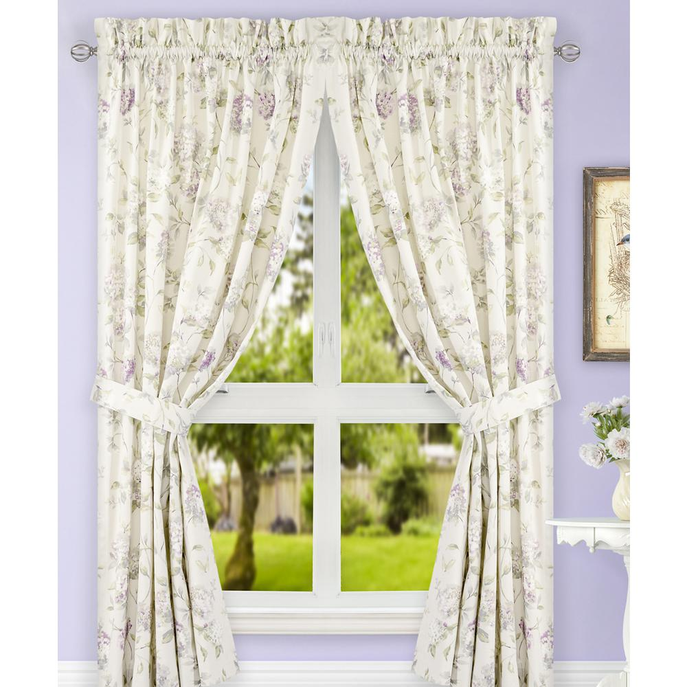 Traditional Curtains Abigail Lilac Polyester Cotton Tailored Pair Curtains With Ties 90 In W X 84 In L