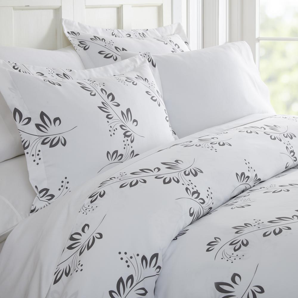 Patterned Duvet Cover Simple Vine Patterned Performance Gray Queen 3 Piece Duvet Cover Set