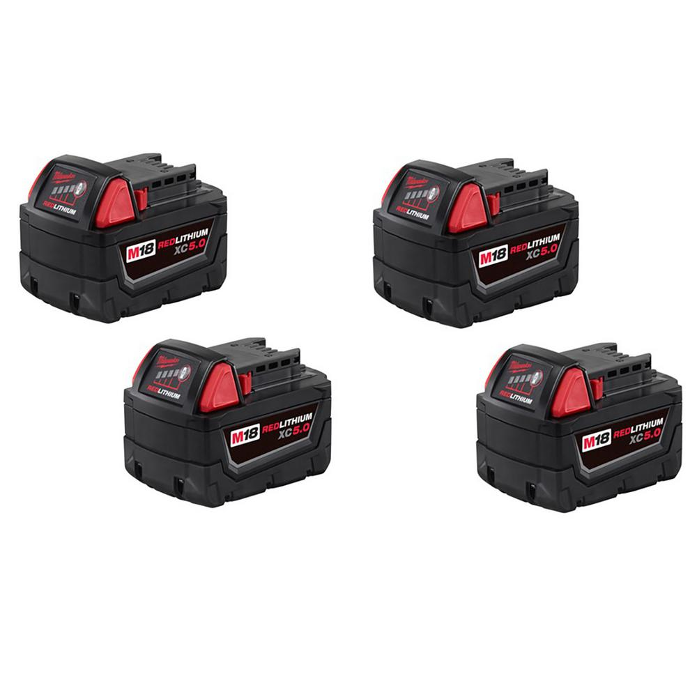 Milwaukee M18 Battery Milwaukee M18 18 Volt Lithium Ion Xc Extended Capacity Battery Pack 5 0ah 4 Pack