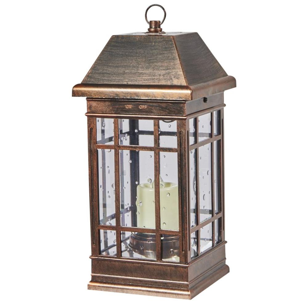 Outdoor Lamps Smart Solar San Rafael Ii Mission Solar Pillar Candle Lantern In Antique Bronze