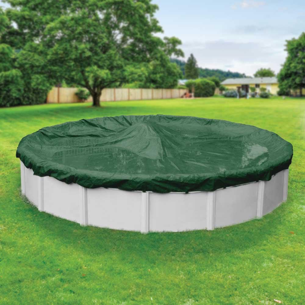 Above Ground Pool Winter Cover Robelle Supreme 18 Ft Round Green Solid Above Ground Winter Pool Cover
