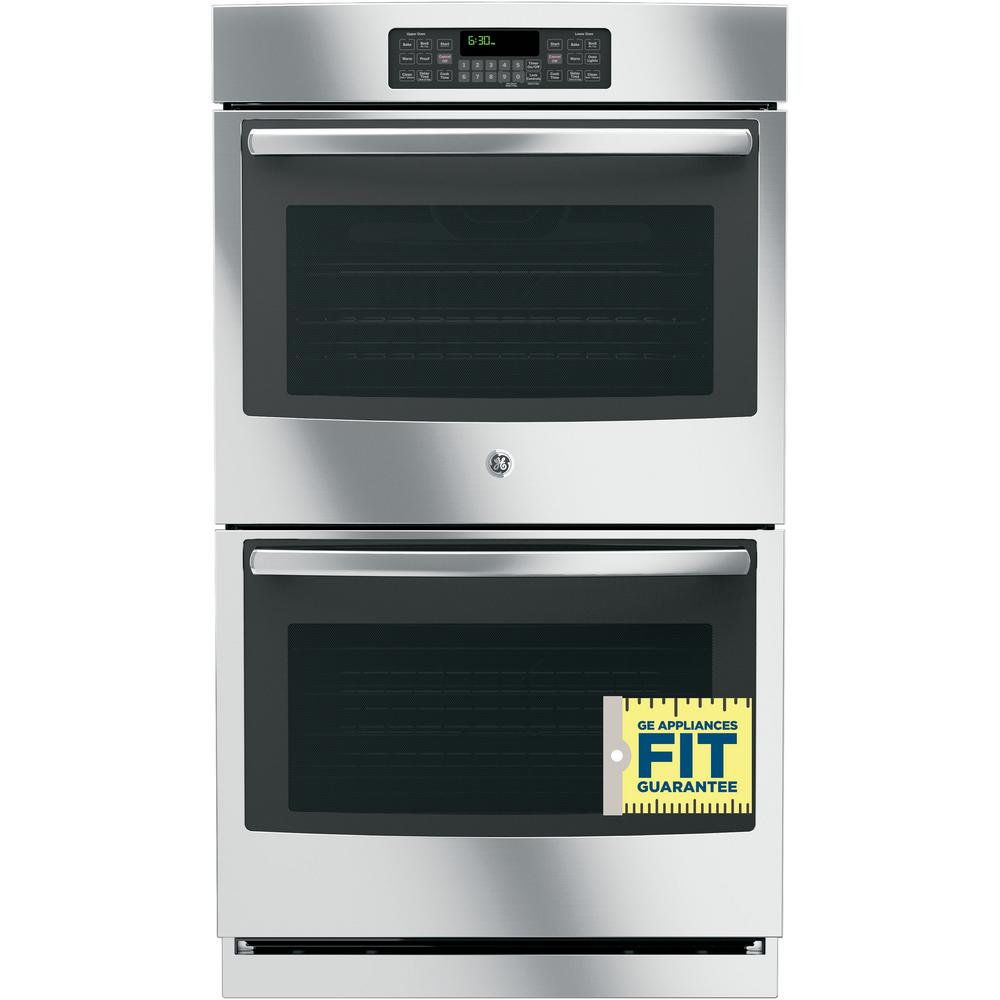 30 Wall Ovens Ge 30 In Double Electric Wall Oven Self Cleaning With Steam In Stainless Steel