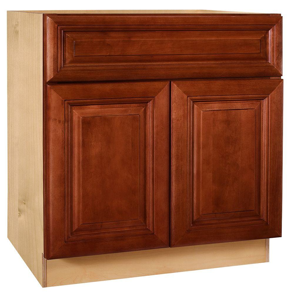 Kitchen Cabinet Drawers Home Decorators Collection Lyndhurst Assembled 30x34 5x24 In Double Door Base Kitchen Cabinet Drawer 2 Rollout Trays In Cabernet