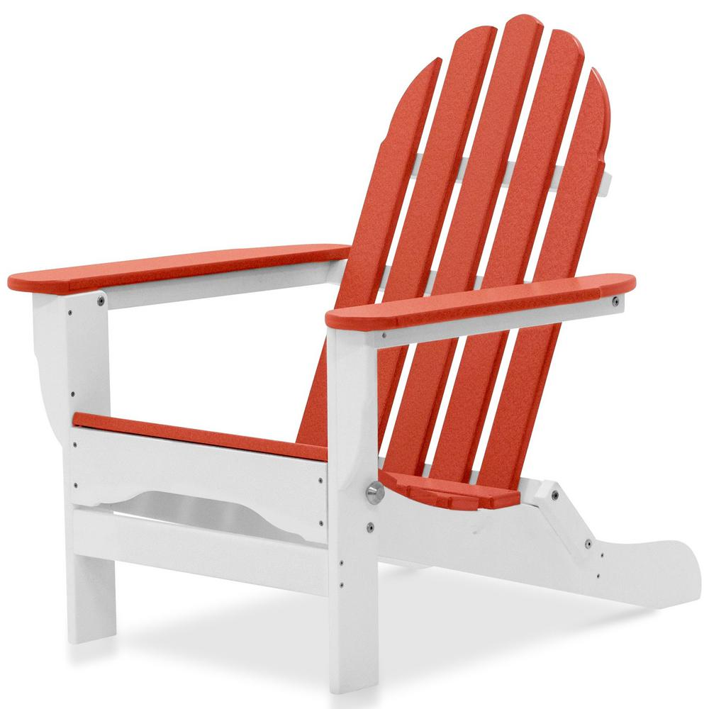 Exceptionnel Durogreen Icon White And Bright Red Plastic Folding Adirondack Chair