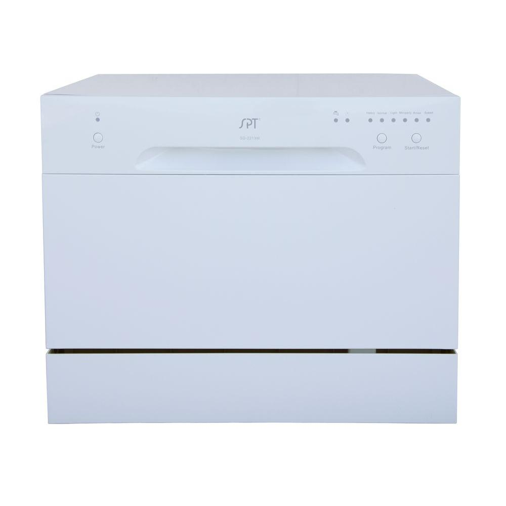 Spt Countertop Dishwasher In White With 6 Place Settings Capacity Sd 2213w The Home Depot