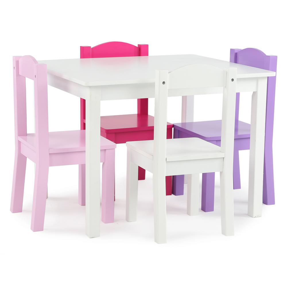 Childrens Table And Chair Set Tot Tutors Friends 5 Piece White Pink Purple Kids Table And Chair Set