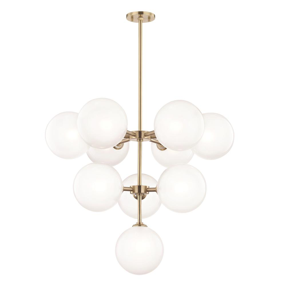 Led Chandelier Mitzi By Hudson Valley Lighting Ashleigh 10 Light Aged Brass Led Chandelier With Clear Glass Outside Etched Glass Inside