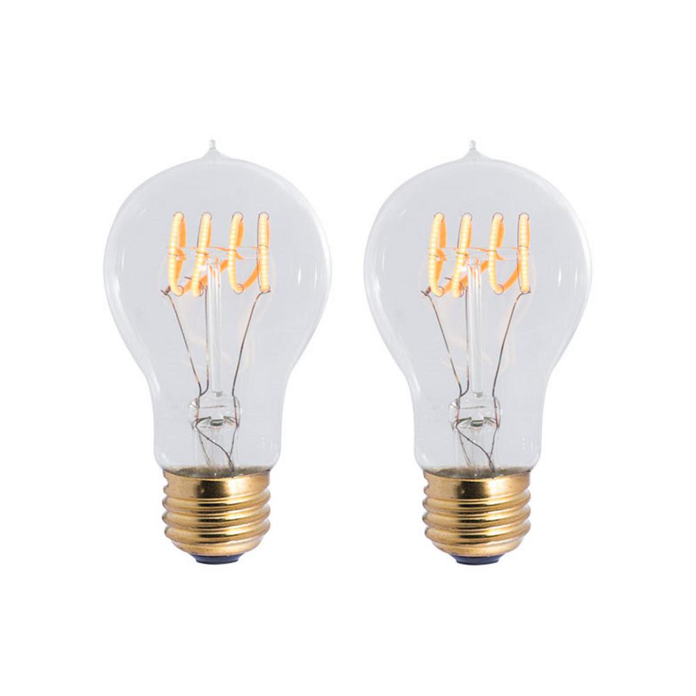 Lamp Led Filament Bulbrite 40w Equivalent Amber Light A19 Dimmable Led Curved Filament Nostalgic Light Bulb 2 Pack