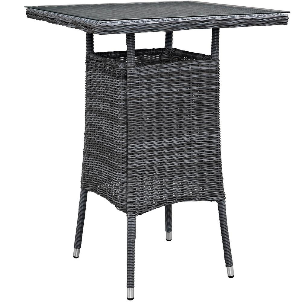 Small Dining Table Modway Summon Small Patio Patio Wicker Bar Height Outdoor Dining Table In Gray