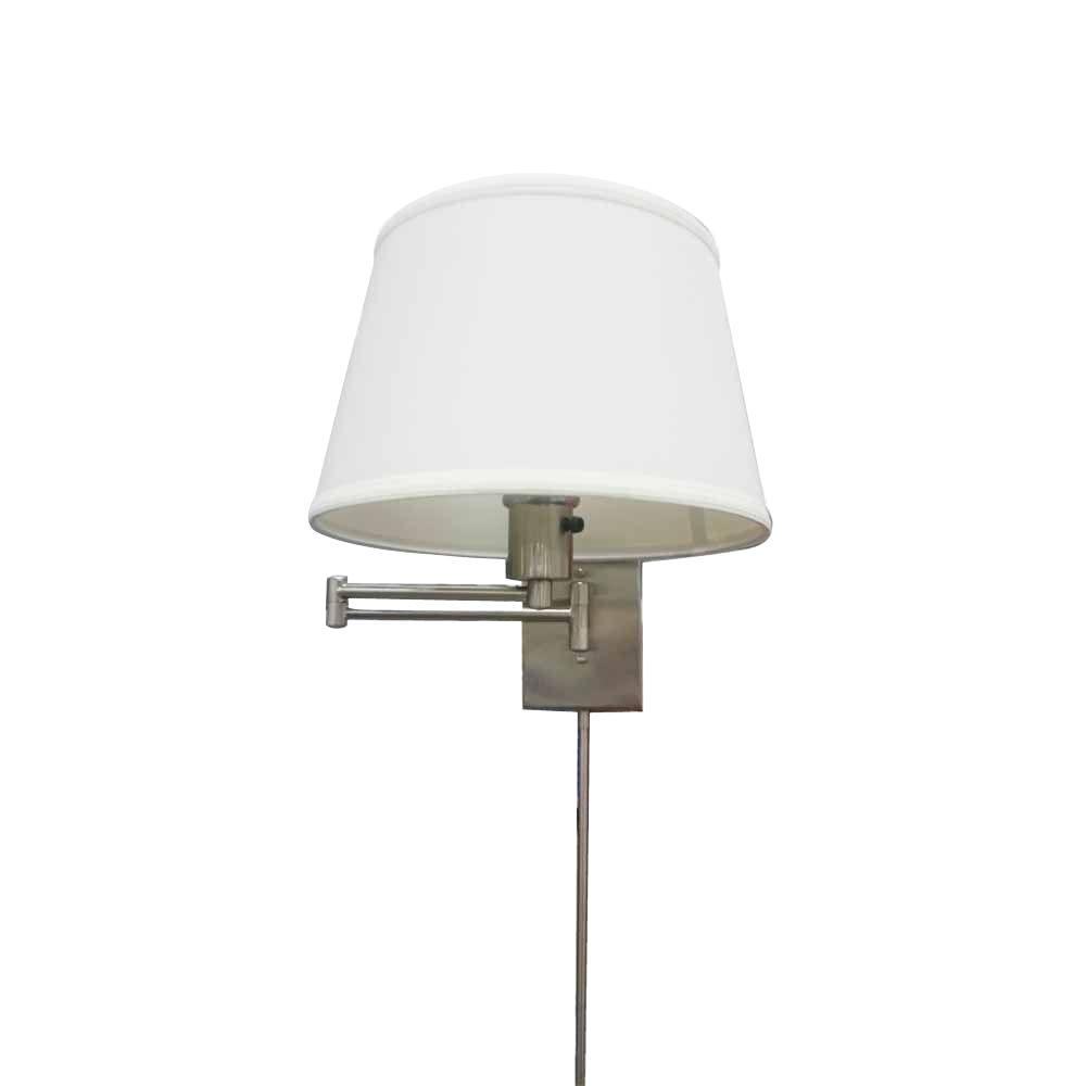 Arm Lamp Hampton Bay 1 Light Brushed Nickel Swing Arm Sconce With White Fabric Shade