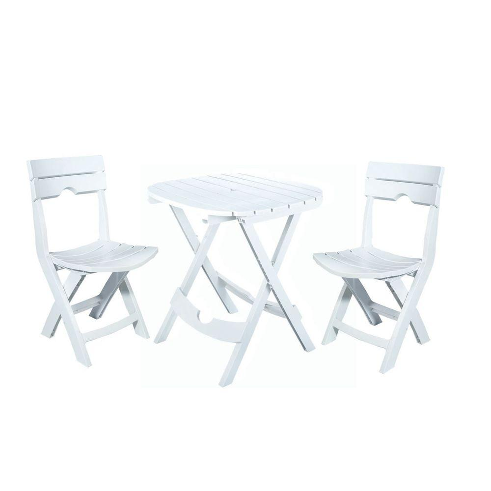 Cafe Table Adams Manufacturing Quik Fold White 3 Piece Resin Plastic Outdoor Bistro Cafe Set