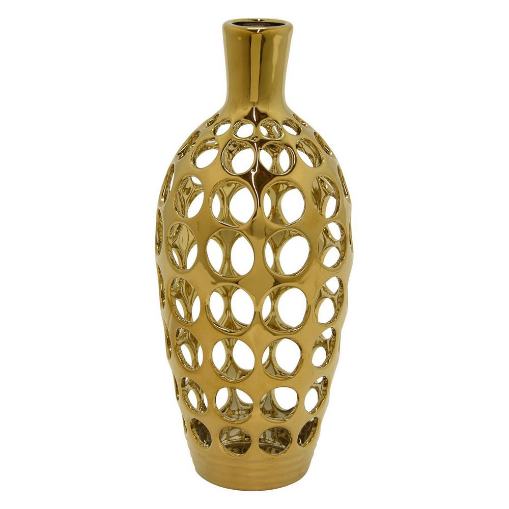 Vase Gold Three Hands 4 75 In Gold Ceramic Pierced Decorative Vase