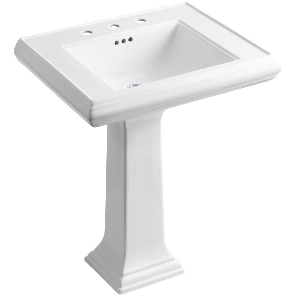 Bathroom Kohler Kohler Memoirs Classic Ceramic Pedestal Bathroom Sink In White With Overflow Drain