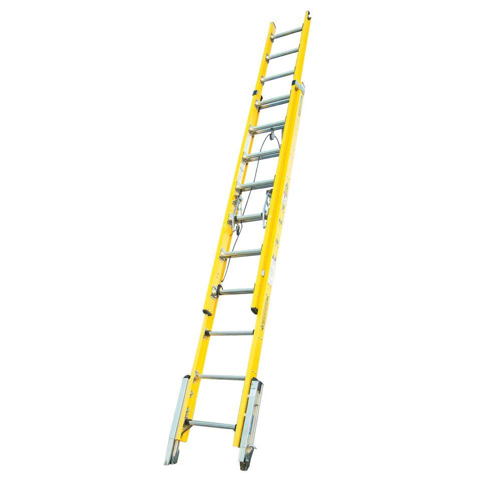 20' Ladder Home Depot Werner 20 Ft Fiberglass D Rung Leveling Extension Ladder With 375 Lb Load Capacity Type Iaa Duty Rating