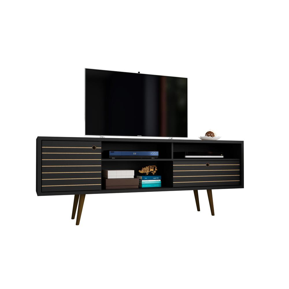 Modern Tv Manhattan Comfort Liberty 70 86 In Black 4 Shelf Tv Stand