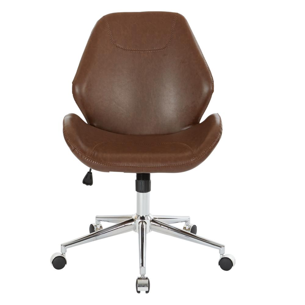 Saddle Office Chair Ave Six Chatsworth Saddle Faux Leather Office Chair With Chrome