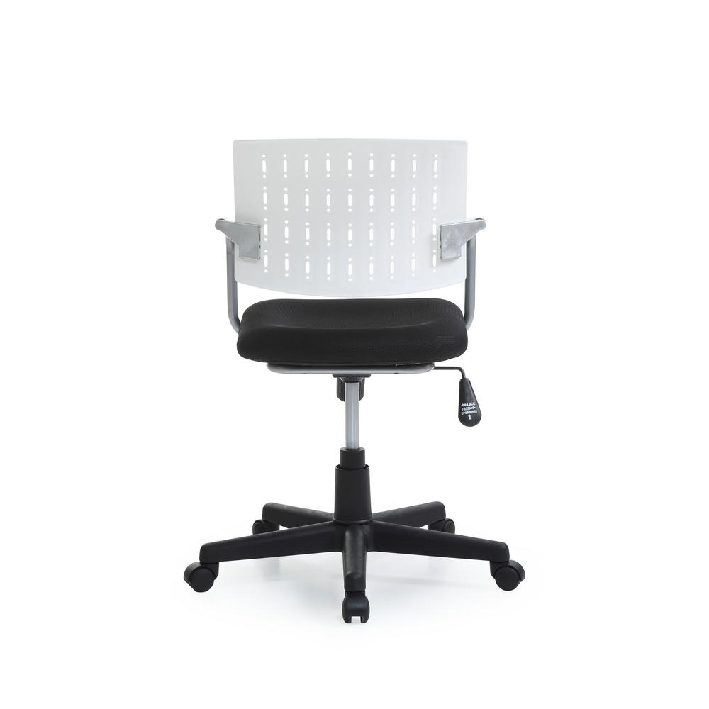 Desk Seat Hodedah White Mid Back Adjustable Height Swiveling Desk Chair With Padded Seat And Breathable Back Res