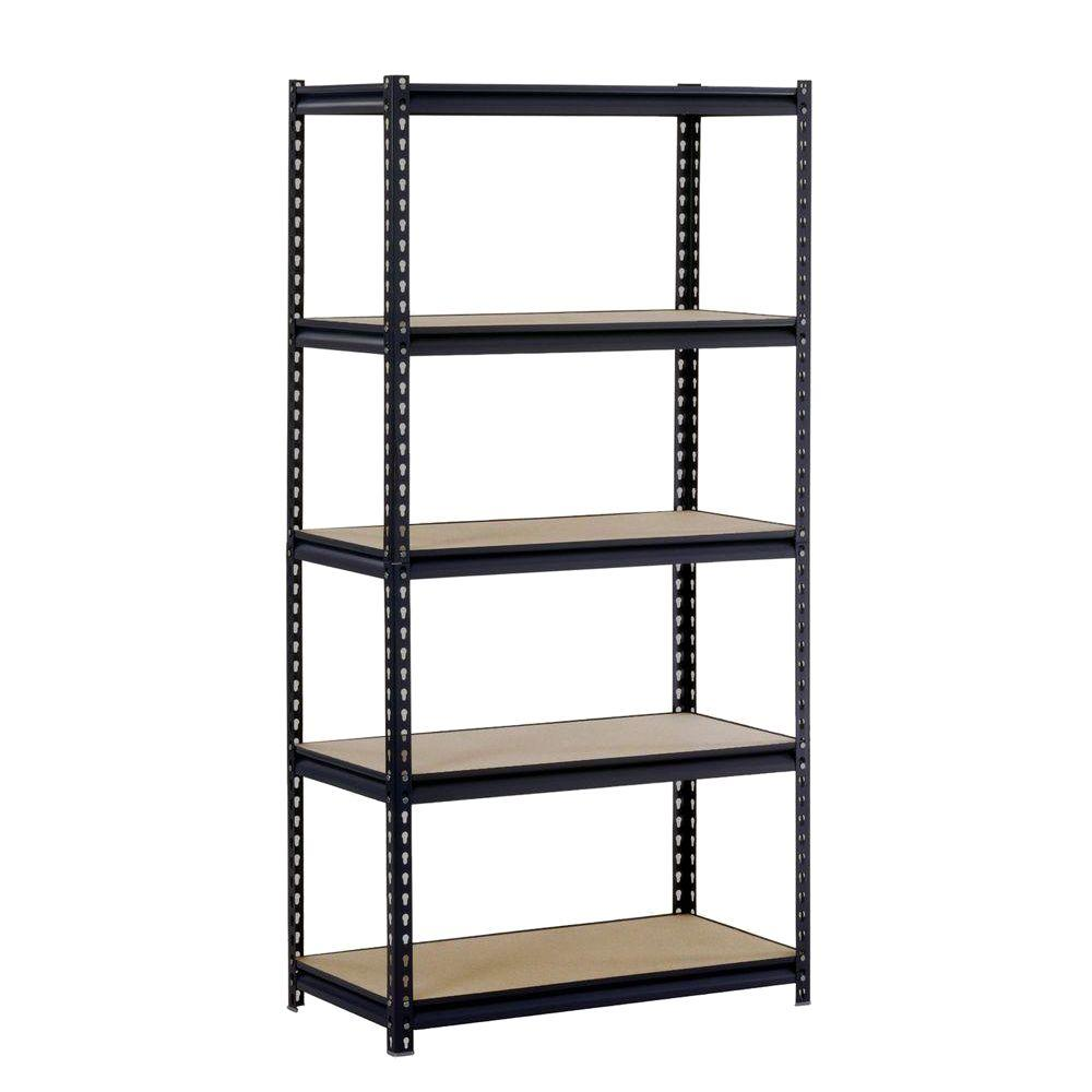 Garage Shelving Units Edsal 72 In H X 36 In W X 18 In D 5 Shelf Steel Commercial Shelving Unit In Black