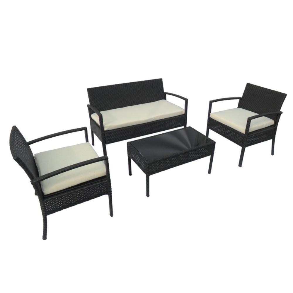 Rattan Table Aleko Linosa Rattan 4 Piece Coffee Table Set In Black