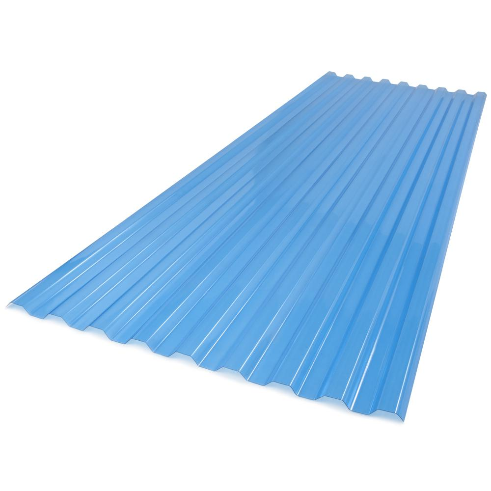 Suntuf 26 In X 6 Ft Polycarbonate Roof Panel In Sky Blue 173522 The Home Depot - Polycarbonate Sheet