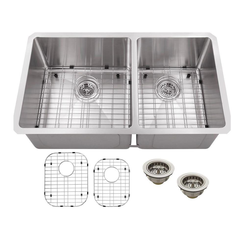 Schon Undermount Stainless Steel 32 In Double Bowl