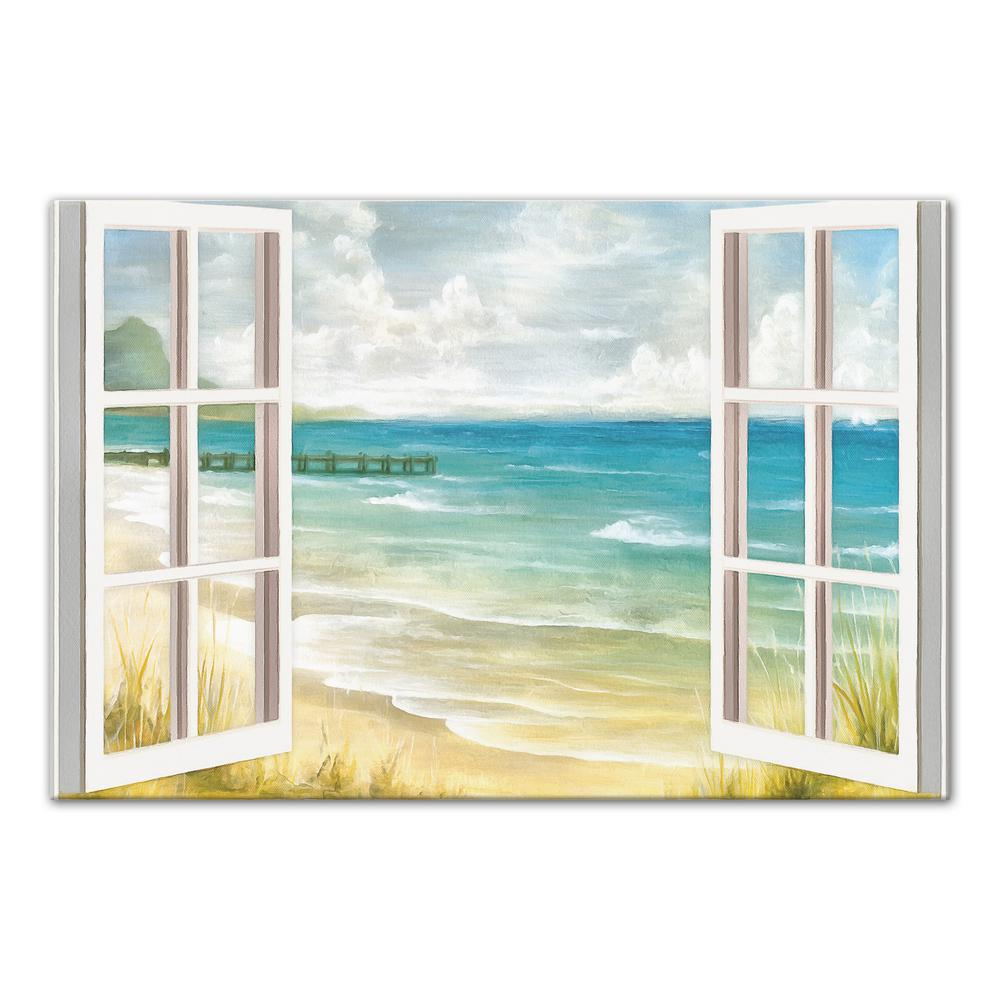 Window Wall Designs Designs Direct 20 In X 30 In Open Windows To Beach Paradise Printed Canvas Wall Art