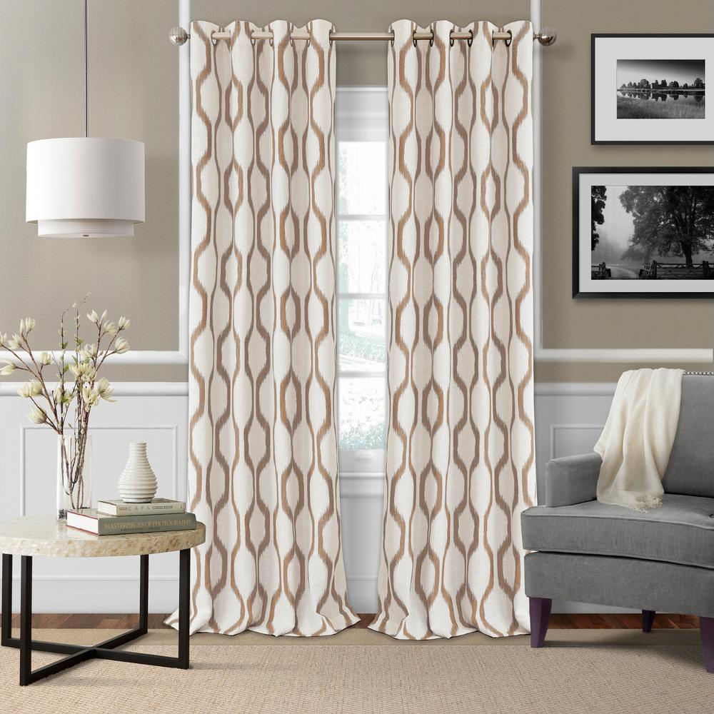 36 Inch Room Darkening Curtains Elrene Renzo Ikat Geometric Linen Room Darkening Window Curtain