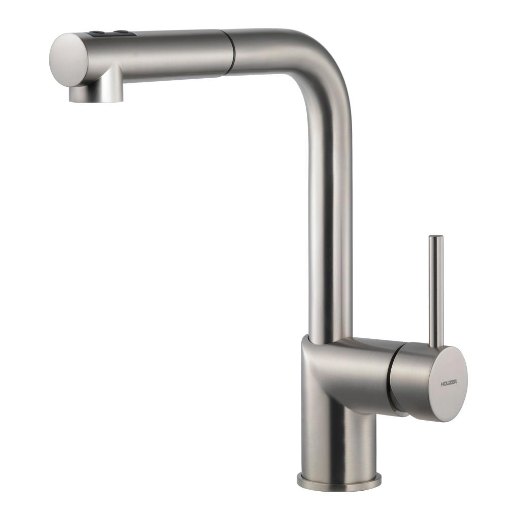 Manufacturer Factory Faucets Houzer Vitale Single Handle Pull Out Sprayer Kitchen Faucet With Ceradox Technology In Brushed Nickel
