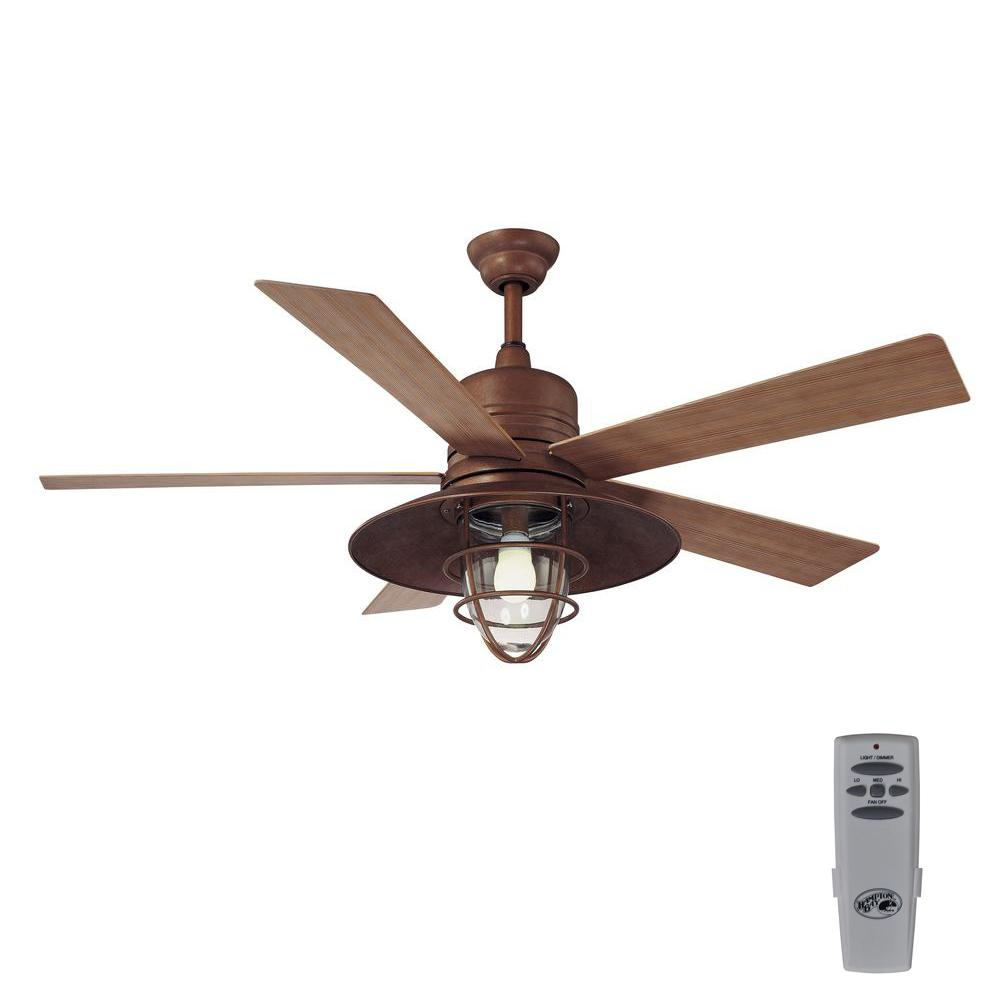 Rustic Ceiling Fan Light Fixtures Home Decorators Collection Grayton 54 In Led Indoor Outdoor Galvanized Ceiling Fan With Light Kit And Remote Control