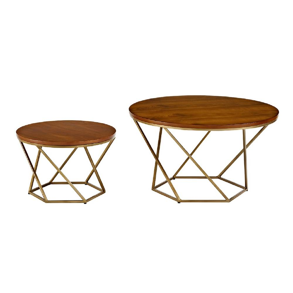 Gold Nesting Coffee Table Walker Edison Furniture Company Geometric Wood Nesting Coffee Tables In Walnut And Gold