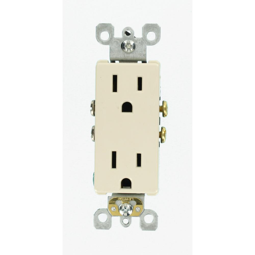 Contemporary Electrical Outlets Leviton Decora 15 Amp Residential Grade Self Grounding Duplex Outlet Light Almond